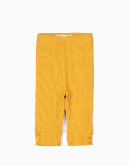 Pantalon côtelé nouveau-née, jaune moutarde