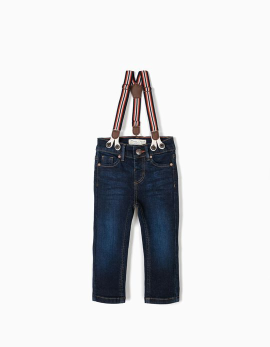 Jeans with Suspenders for Baby Boys, Dark Blue