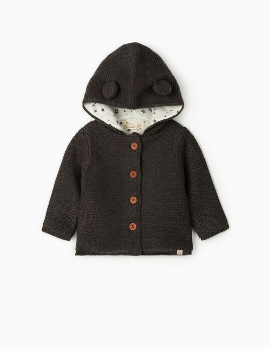 Hooded Cardigan for Newborn Baby Boys, Dark Grey