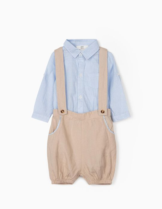 Shirt Bodysuit and Shorts for Newborn Baby Boys, Beige/Blue