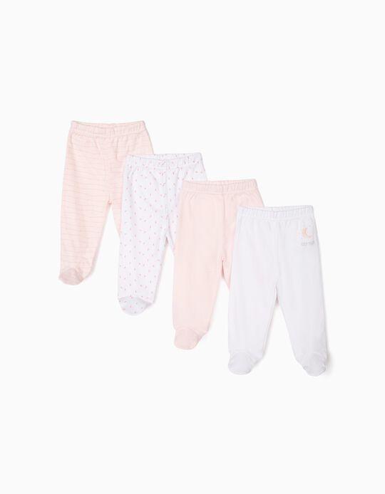 4 Calças com Pés para Recém-Nascido 'Sleep Tight', Rosa e Branco