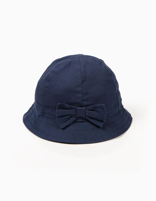 Hat for Girls with Bow, Dark Blue