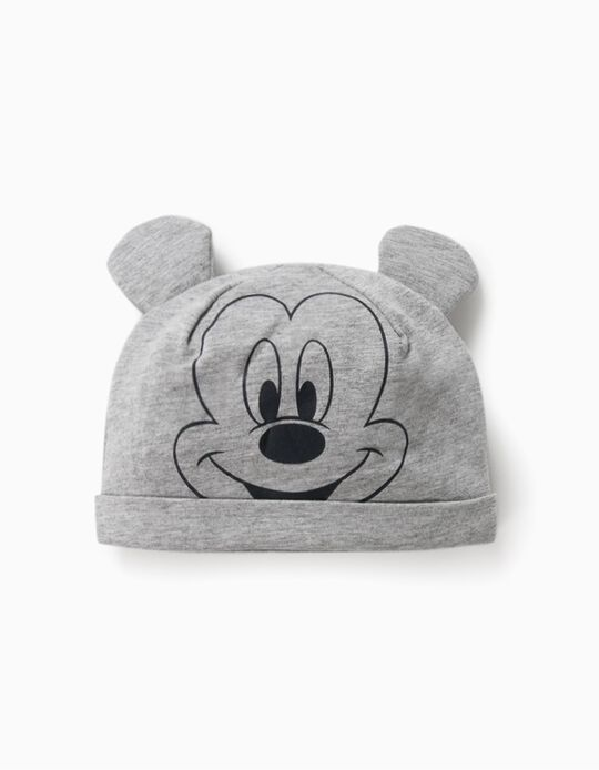 Jersey Knit Beanie for Babies 'Mickey Mouse', Grey