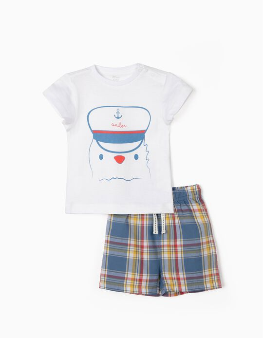 Pyjamas for Baby Boys, 'Sailor', White/Chequered