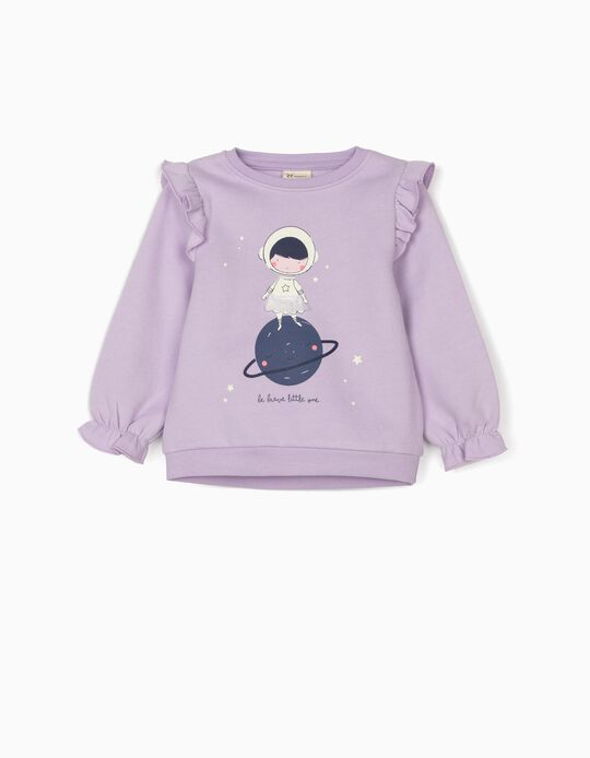Sweatshirt for Baby Girls 'Be Brave', Lilac