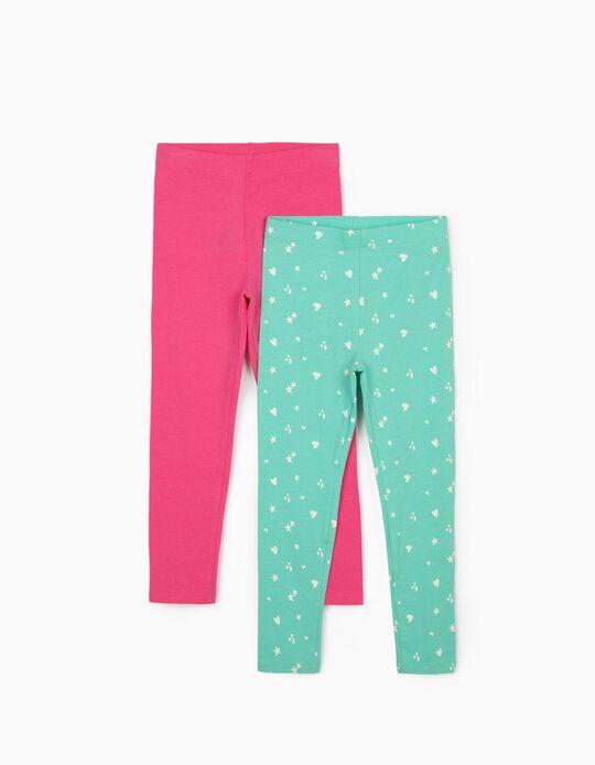 2 Leggings para Niña 'Hearts & Stars', Verde Agua/Rosa