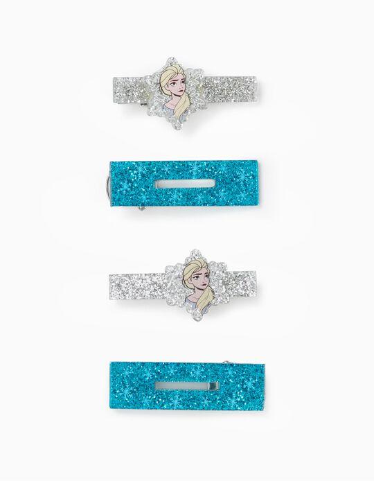 4 Horquillas para Bebé y Niña 'Elsa', Azul/Plateado