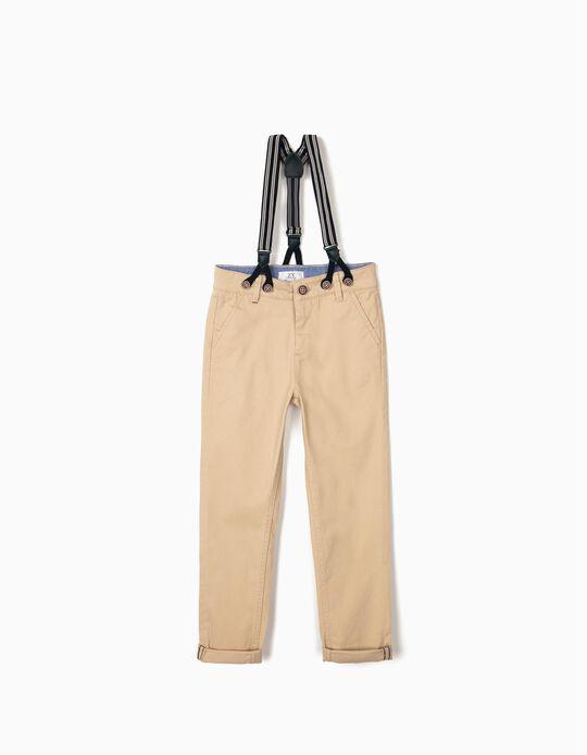 Pantalon chino à bretelles garçon, beige