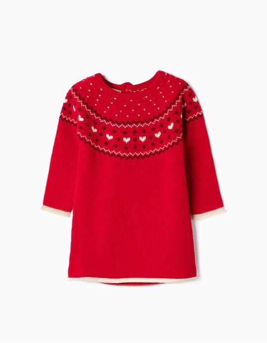 Vestido de Punto para Bebé Niña, Rojo