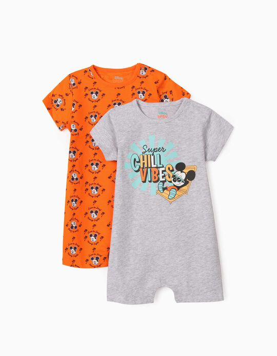 2 Short Sleeve Sleepsuits for Baby Boys, 'Mickey Mouse Surf', Grey/Orange
