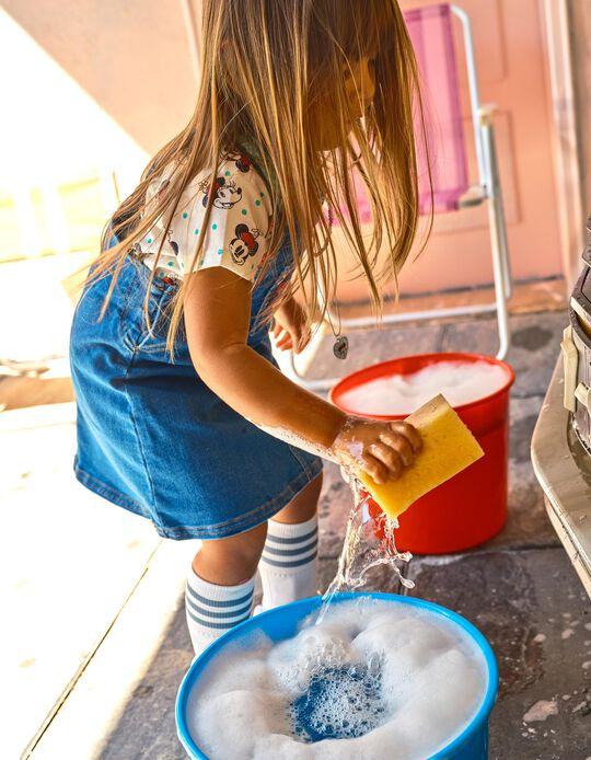 Saia de Peito de Ganga para Bebé Menina 'Minnie', Azul