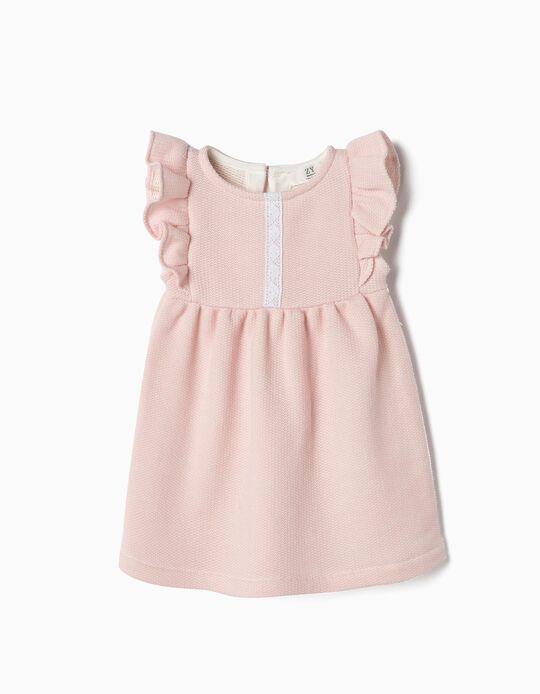 Vestido de Malha Terry para Recém-Nascida, Rosa