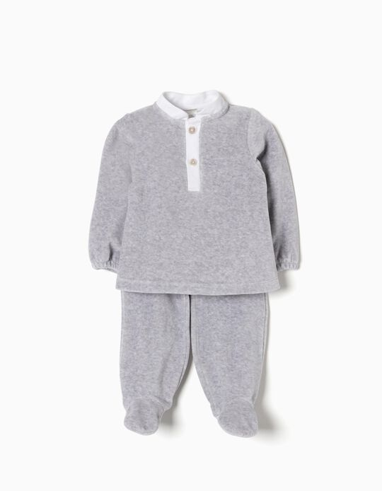 Pijama Veludo Combinado Cinza