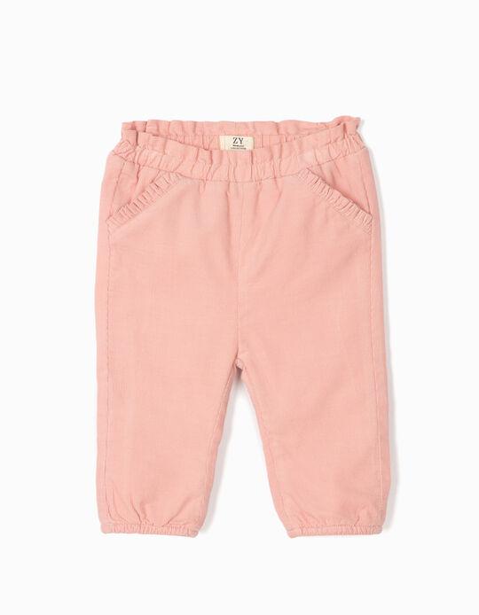 Pantalón de Pana para Recién Nacido, Rosa
