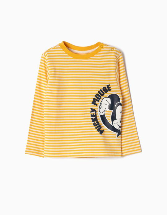 Camiseta Manga Larga para Bebé Niño 'Mickey', Amarillo y Blanco