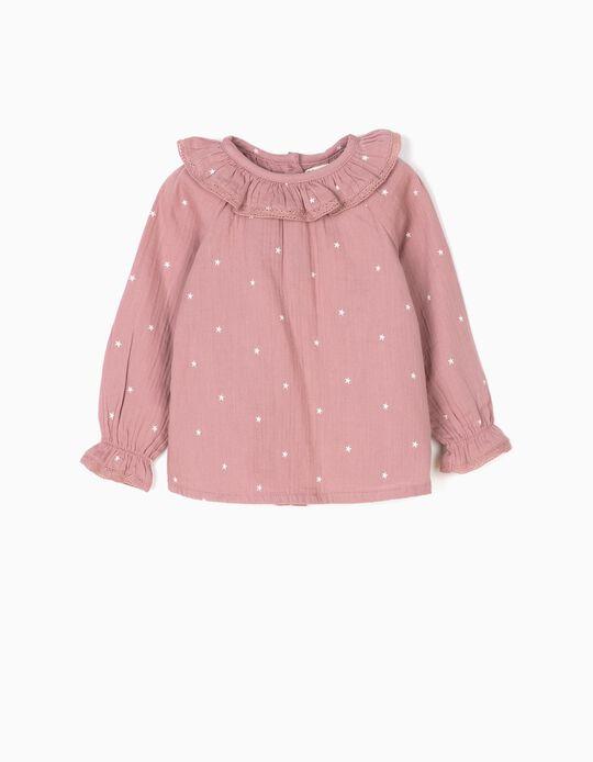 Blusa Bebé Menina Bambula Estrelas Rosa