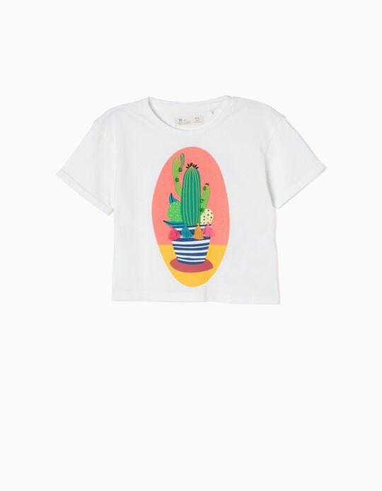Camiseta Corta Cactus Blanca