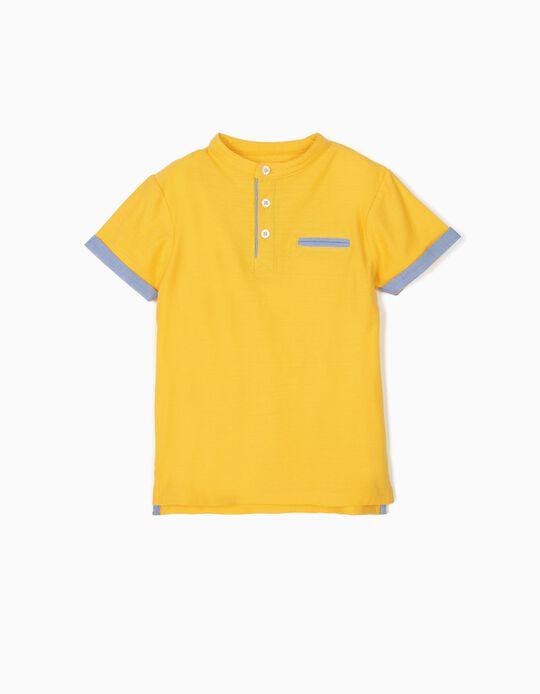 Polo para Niño con Relieve y Cuello Mao, Amarillo