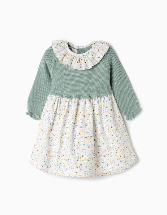 Vestido De Dos Materias para Recién Nacida 'Flores', Verde y Blanco