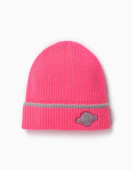Ribbed Knit Beanie for Girls 'Space', Pink