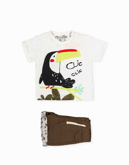 T-shirt e Calções para Bebé Menino LOSAN, Branco/Verde Caqui