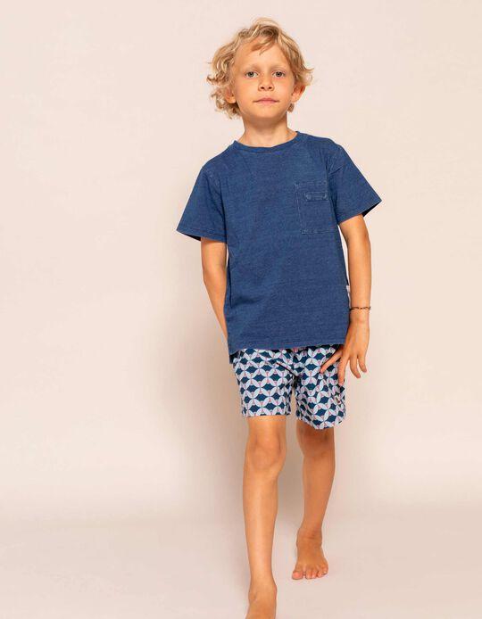 Bañador Short Estampado para Niño, Azul