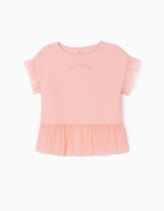 T-shirt with Tulle for Girls, 'Having Fun', Pink