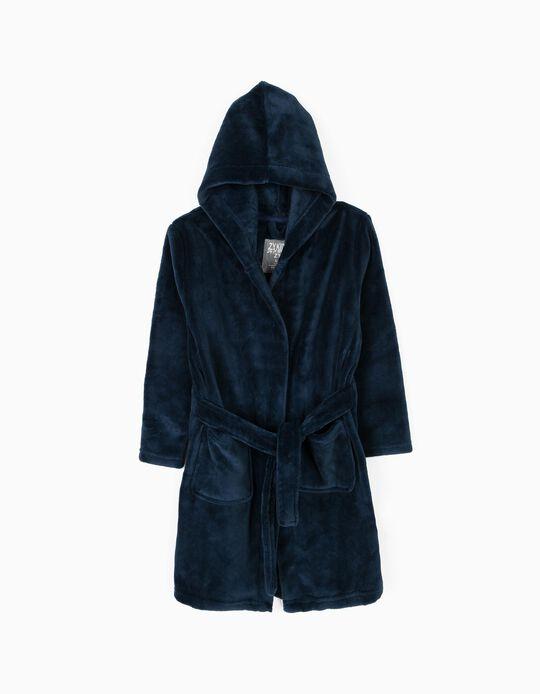 Hooded Dressing Gown for Boys, Dark Blue