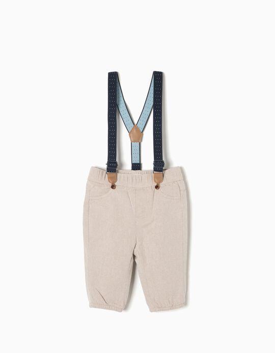 Pantalón de Sarga Beige con Tirantes
