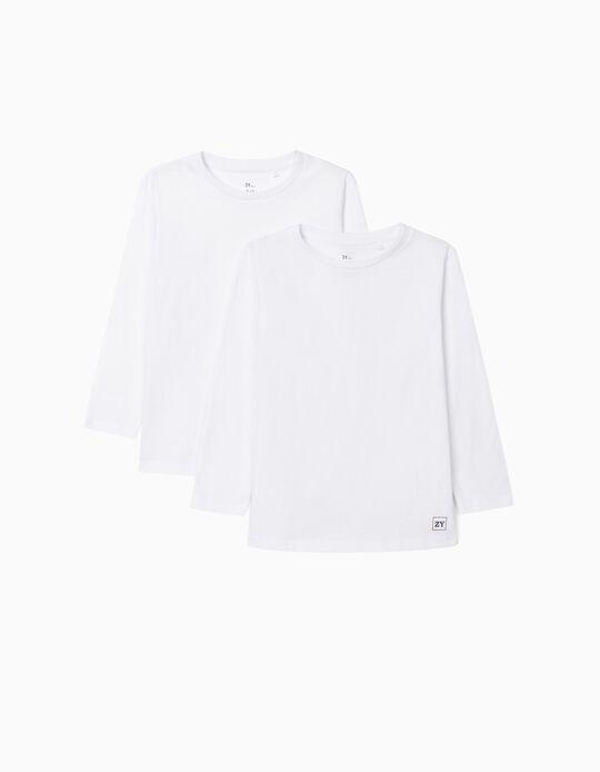 2 T-shirts manches longues garçon, blanc