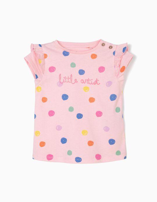 Camiseta para Bebé Niña 'Little Artist', Rosa