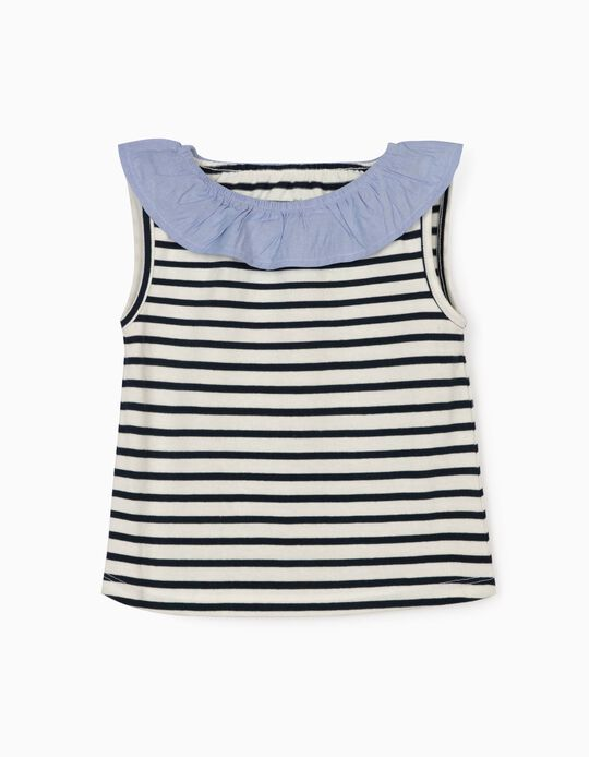 Striped Top for Baby Girls, Blue/White