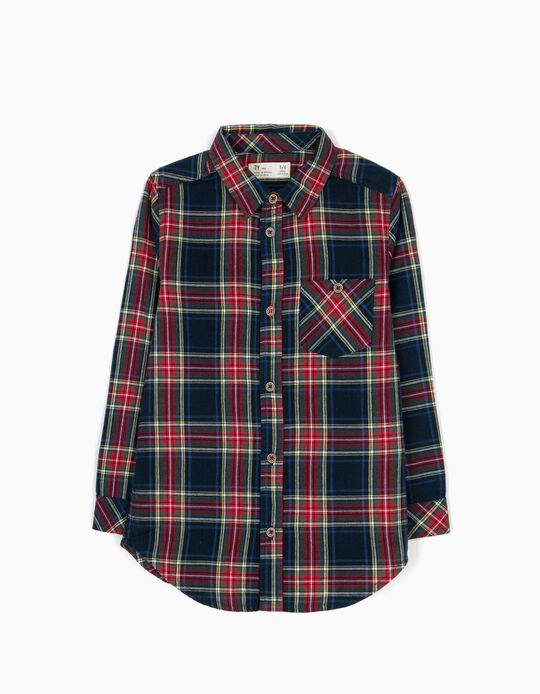 Camisa Menino Xadrez Azul B&S