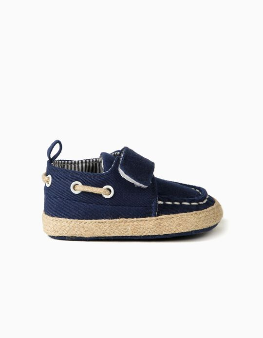 Pram Shoes in Jute for Newborn Baby Boys, Dark Blue