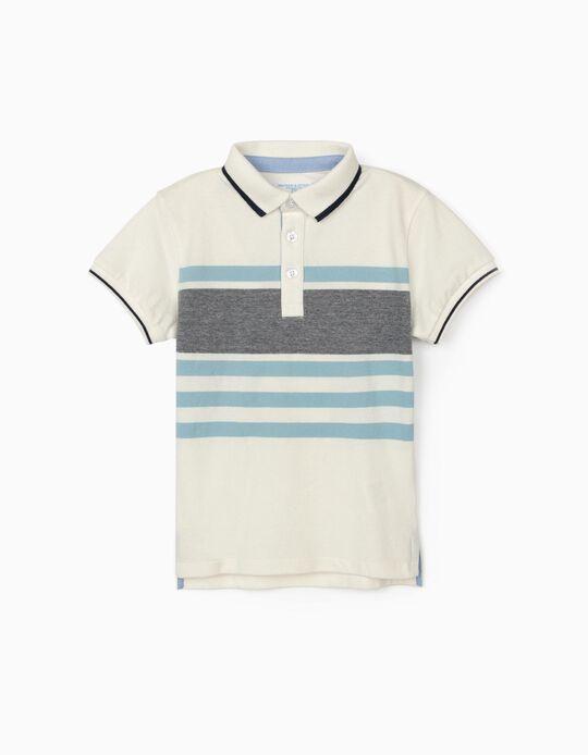 Polo Riscas para Menino 'B&S', Branco/Azul
