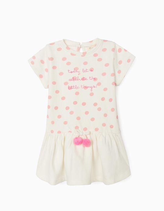 Dress for Baby Girls, 'Little Things', White/Pink