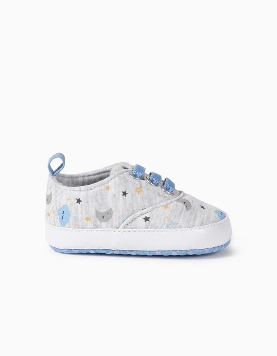 Fabric Trainers for Newborn Boys 'Clouds', Grey/Blue