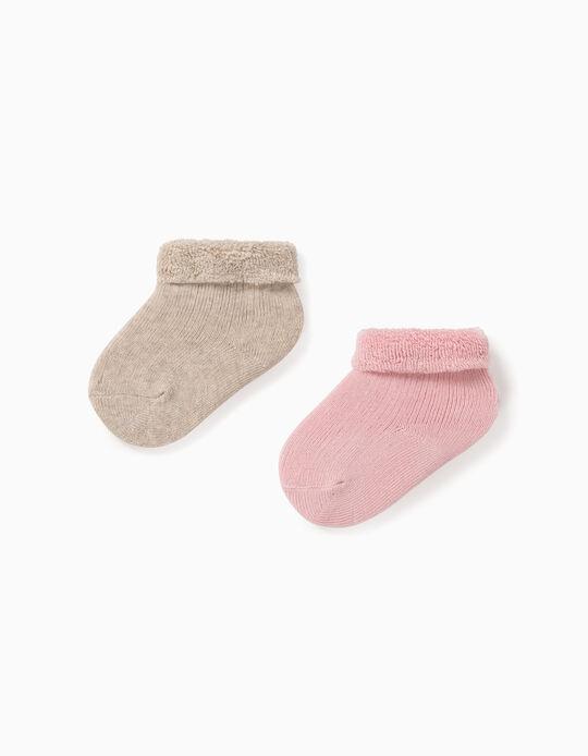 2 Pares de Calcetines para Bebé Niña, Rosa/Beige
