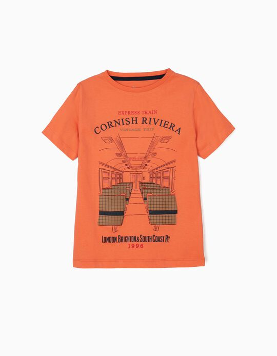 Camiseta para Niño 'Vintage Train', Naranja