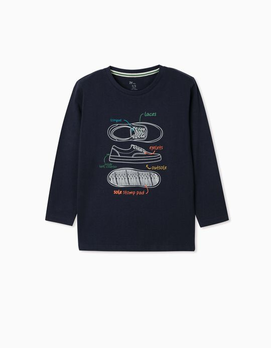 Camiseta de Manga Larga para Niño 'Shoes', Azul Oscuro