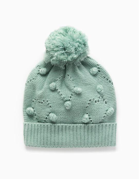Knit Beanie with Pompom  for Babies, Aqua Green