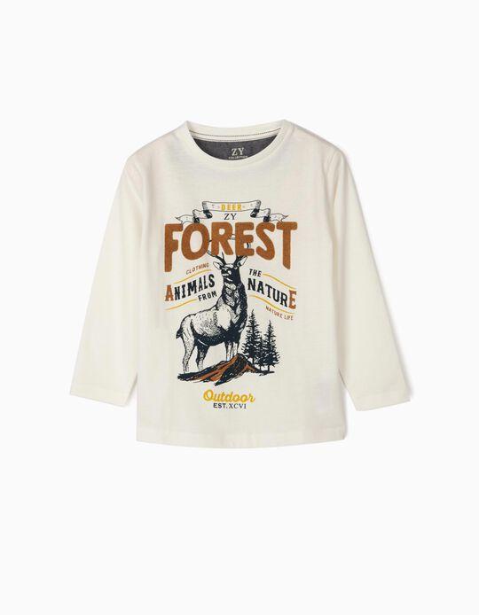 Camiseta de Manga Larga para Niño 'Forest', Blanca
