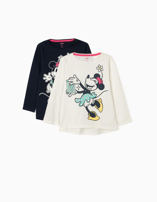 2 Long Sleeved T-Shirts for Girls 'Minnie', White/Dark Blue
