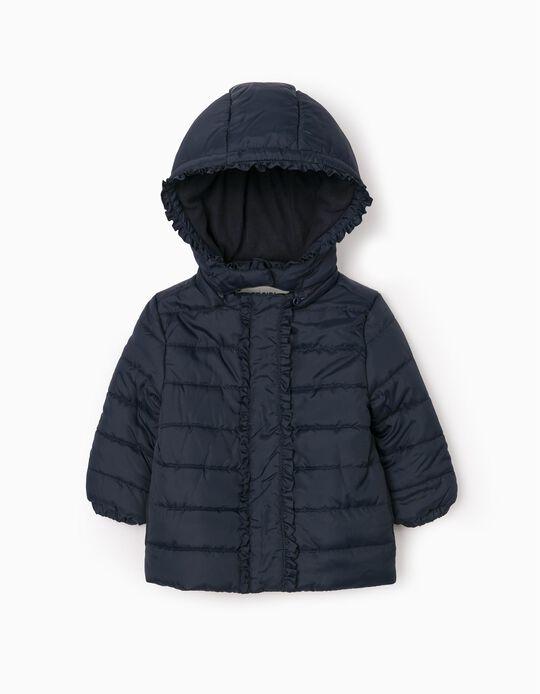 Padded Jacket for Baby Girls, Dark Blue