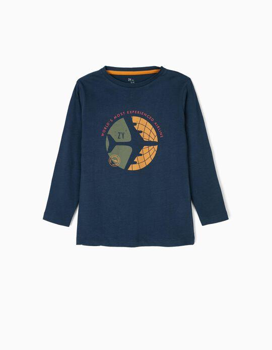 T-shirt Manga Comprida para Menino 'ZY Airline', Azul Escuro