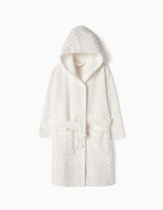 Roupão com Textura para Menina, Branco