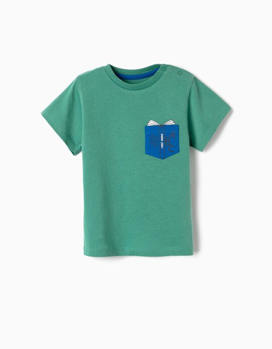 T-shirt para Bebé Menino 'First Words', Verde