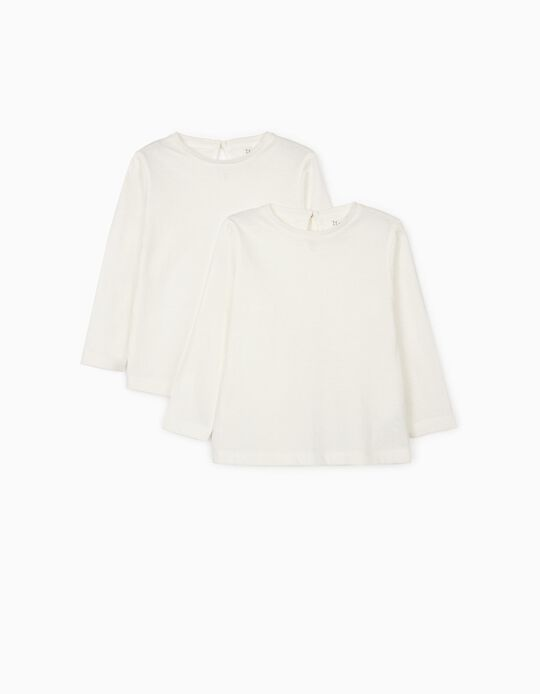 2 T-shirts Manga Comprida para Bebé Menina, Branco