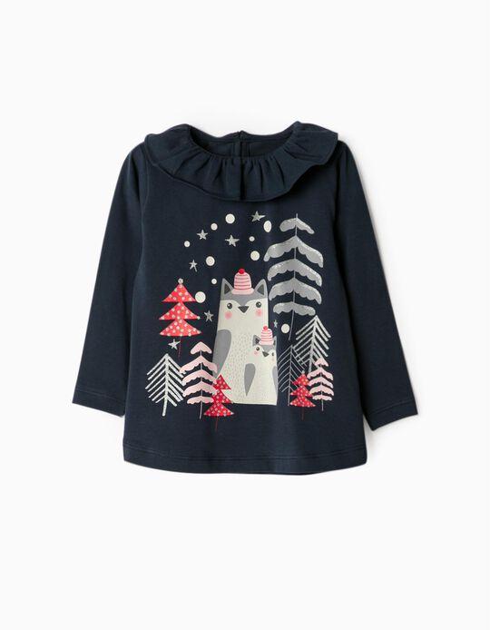 T-shirt Manga Comprida para Bebé Menina 'Christmas', Azul Escuro