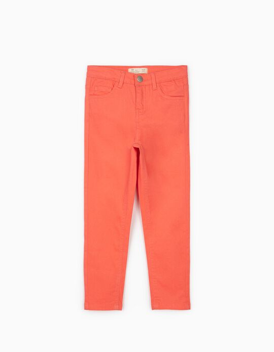 Twill Trousers for Girls, Coral